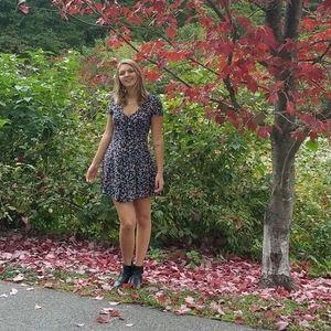 Black Floral Button-Up Dress